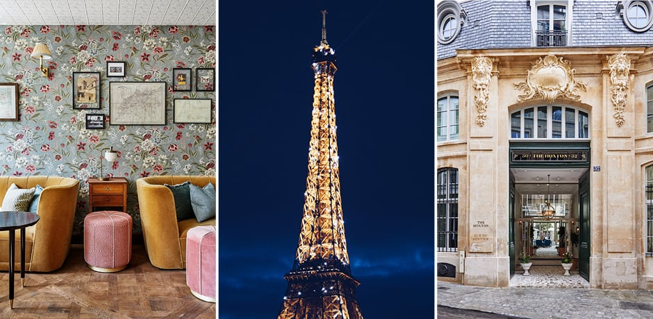 From left: The speakeasy at the Hoxton, the Eiffel Tower, the façade of the Hoxton