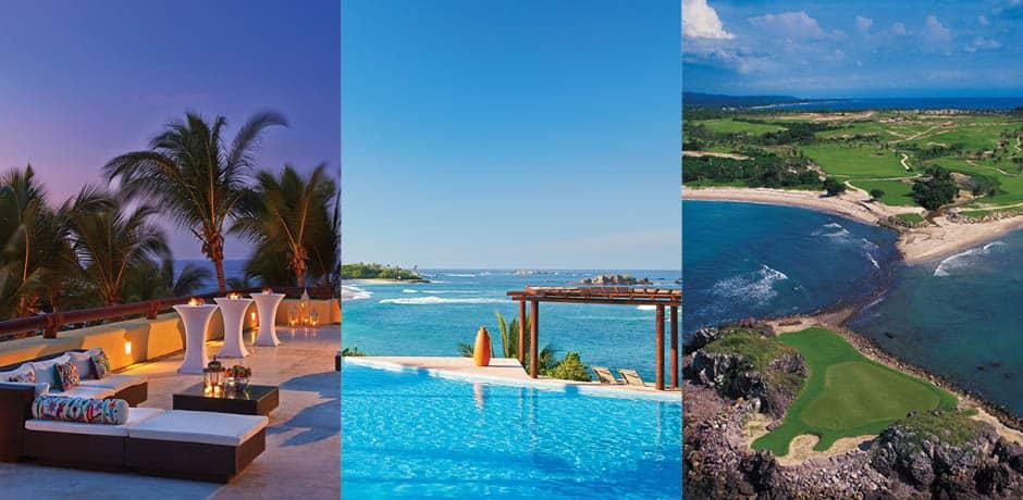 The Four Seasons' patio, pool, and golf course (photo courtesy Four Seasons Punta Mita)