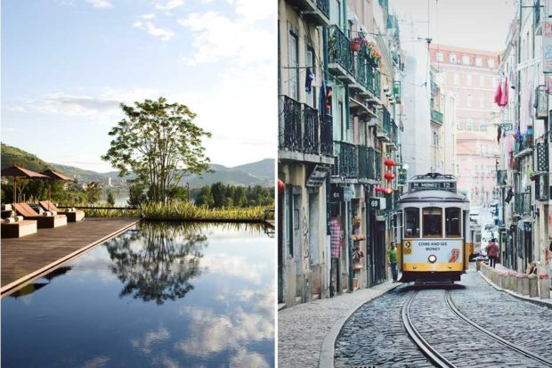 From left: the outdoor pool at the Six Senses Douro Valley (courtesy Six Senses); a tram winding through the cobblestoned streets of Lisbon.